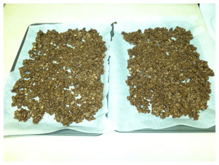 granola step 3 - spread onto baking sheet