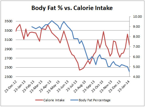 Graph #3: Body Fat Percentage vs. Calorie Intake